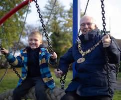 Winchester's Mayor at opening of Winnall Manor playpark