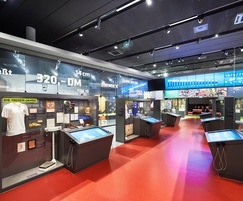 The museum space with exhibits and multimedia displays