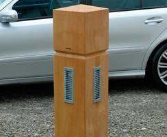 Square bollard - square profile - illuminated