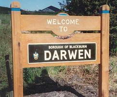 'Welcome to' sign, Darwen, Borough of Blackburn