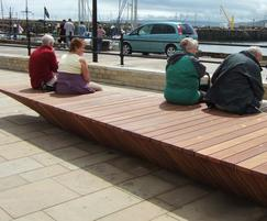 Timber seating and bus shelter, Scarborough