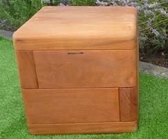 Box hardwood timber cube seat