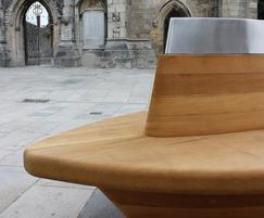 Outdoor seat in front of church