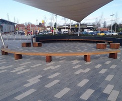 Curved Type 2 benches and Box seats for shopping park