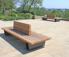 Bespoke hardwood seating for Queen's Park, Bolton