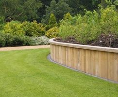 Hardwood retaining wall system, Saville Gardens1