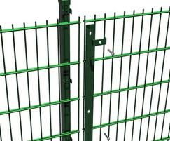 Double wire perimeter fence with anti-tamper fixings