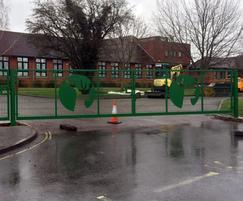 Gates with laser-cut stag motif, Gillingham School