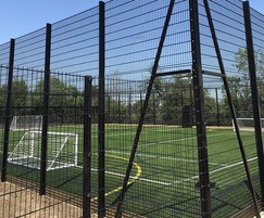 Sports fencing for multi-use games area