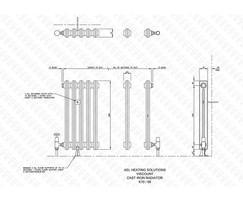 Viscount 2-column cast iron radiator illustration