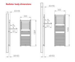 Warmrack Carson chrome heated towel rail dimensions