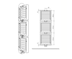 Warmrack Hudson heated towel rail dimensions