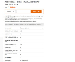 Plate heat exchanger sizing calculator from AEL