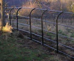 Metal estate rail fencing - High Tor, Matlock, Derbys