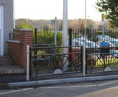 Alpha Rail: Decorative pedestrian guardrail for school entrance