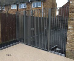 Steel pedestrian gate with flat infill bars