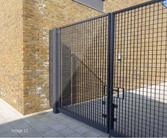 Steel pedestrian gate with steel infill