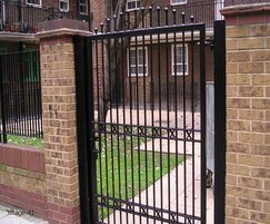 Steel pedestrian gate with decorative top
