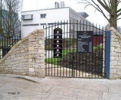 Steel pedestrian gate for school access