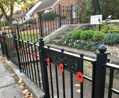 Decorative flat top railings for war memorial