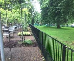 Metal flat top railings - Royal Botanical Gardens, Kew