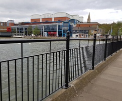 Decorative pedestrian guardrail, Brayford Wharf, London