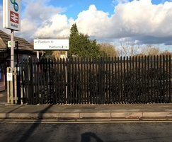 High-security palisade fencing at railway station
