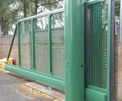 Cantilever security gates, mesh infill