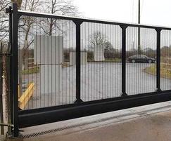 Cantilever security gates, anti-climb mesh infill