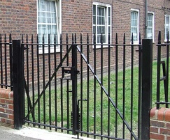 Manual swing gates with railing infill