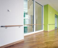 Acrovyn HRWS6C timber handrail with s/steel accessories