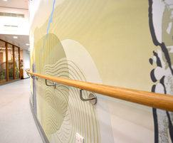 Acrovyn wall panels and curved timber handrail