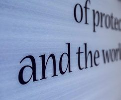 Text printed underneath Acrovyn by Design panel