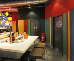 Vibrant sheet colours complement restaurant decor