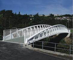 Steel bow arch truss cycle bridge, Swansea