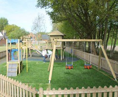 Timber play elements used at Bentley Play Park