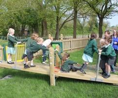 Children enjoying multi-user seesaw