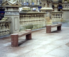 Polished Peterhead granite benches with radial tops