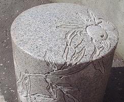 Inver granite bollard, polished and sandblast carved
