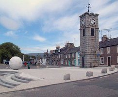 Boulder bollards, paving and sphere, Creetown