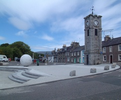 Paving, boulder bollards and sphere, Creetown