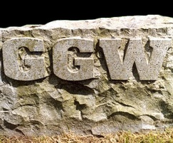 Ailsa Craig boulder with polished raised lettering