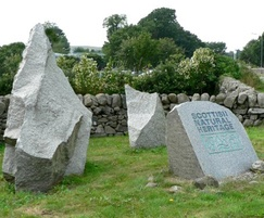 Creetown quarried boulders, sawn and inscribed