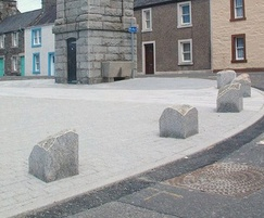 Glacial boulder bollards with polished sides - Creetown