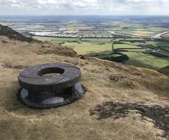 Paradiso granite carved spiral bench and base on Dumyat