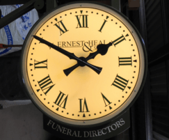 Double sided drum clock with logo