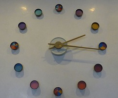 Bespoke coloured clock for indoor reception area