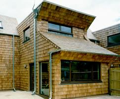 Red roofing battens and Western Red Cedar shingles