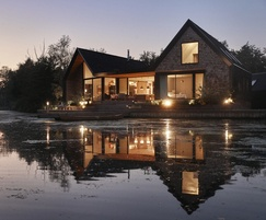The striking design blends with the wetland environment