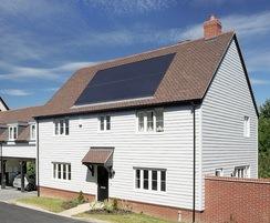 Solar tiles on residential roof
